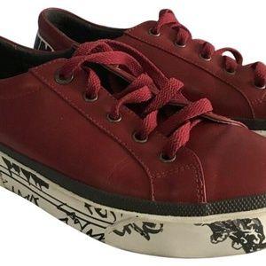 Lanvin Unisex Red Graffiti Sneakers